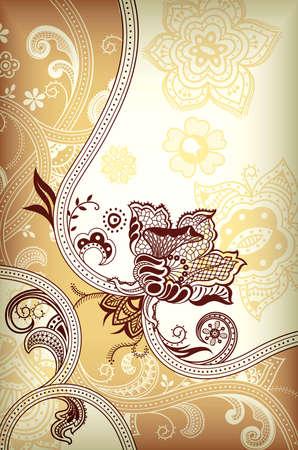 kahverengi: Özet Altın ve Kahverengi Çiçekli Arkaplan