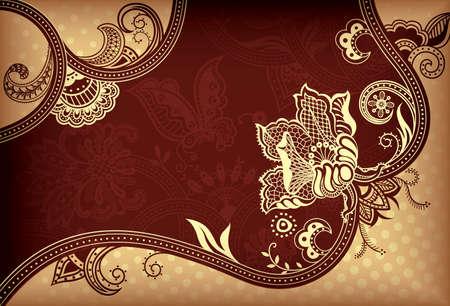 elegante: Gold astratta e Brown Floral Background