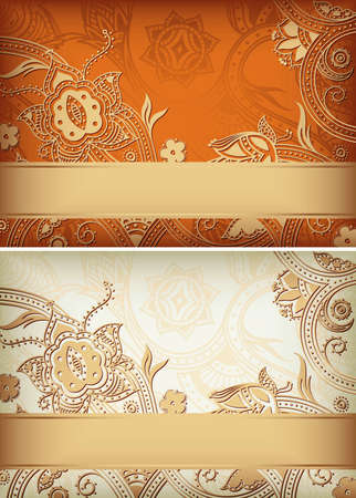 Abstract Gold Floral Frame Background Set Vector