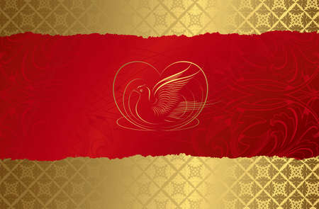 Abstract Gold and Red Floral Background Vector