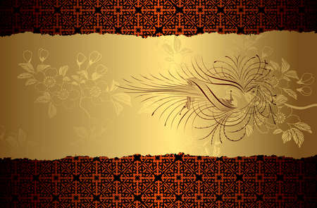 royal: Blossom Bird Gold Background Illustration