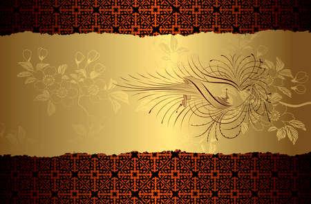 Vogel goud achtergrond bloeien Vector Illustratie