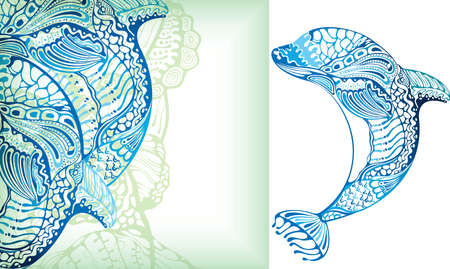 the marine life: Abstract Fish Dolphin Illustration