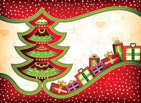 Christmas Tree Gift Box Illustration