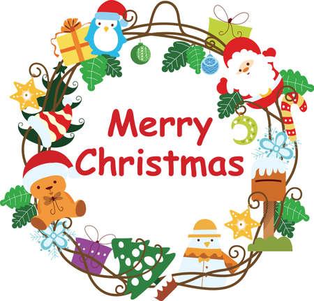pinguinos navidenos: Marco de corona de Navidad 4