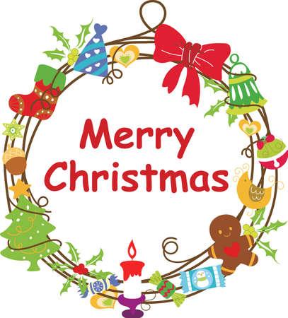 Christmas Wreath Frame 1 Stock Vector - 8093303