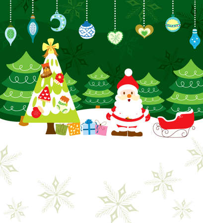 Abstract Christmas Background with Santa Vector