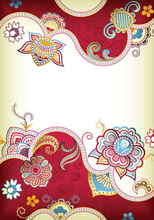 chinese scroll: Abstract Red Floral Background