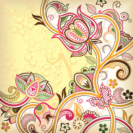Abstract Floral Scroll 3 Vetores