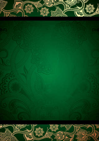chinese scroll: Abstract Green Floral Background