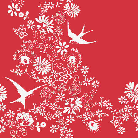Floral and Swallow Vector