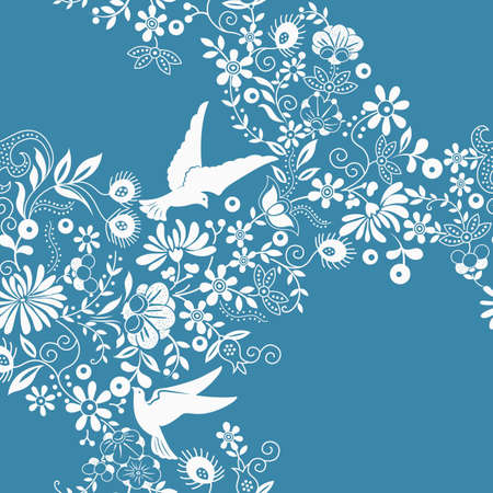 oriental style: Floral and Dove Illustration