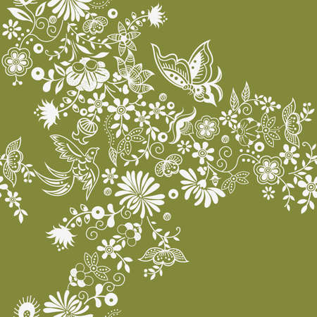 oriental style: Floral and Butterfly Illustration