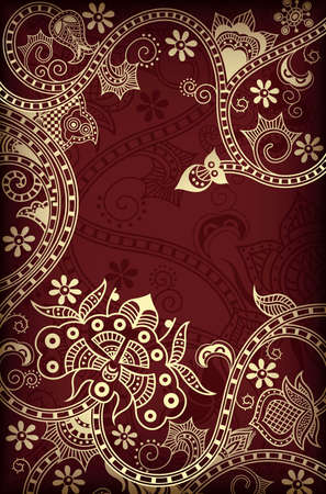 Gold and Chocolate Floral Background Vector