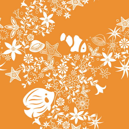 shell pattern: Tropical Fish and Floral Pattern