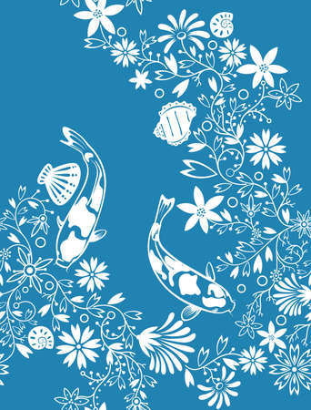 Floral Fish Shell Pattern Vector