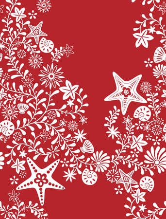 stella marina: Floreali e Starfish Pattern Vettoriali