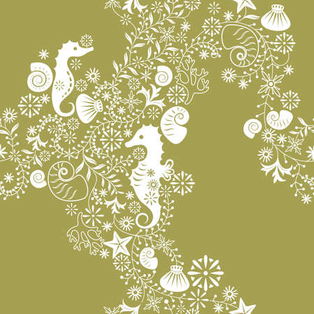 sea horse: Floral and Seahorse Pattern