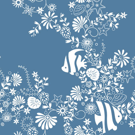 the marine life: Floral and Angelfish Pattern
