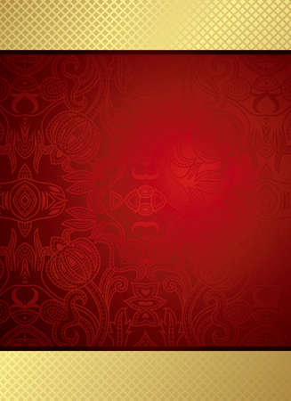 oriental style: Red Floral Background Illustration