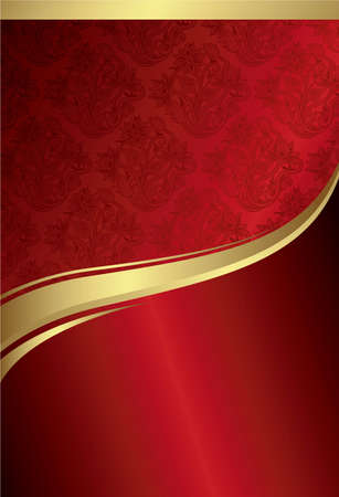 gold floral: Abstract Red Gold Curve Background 1