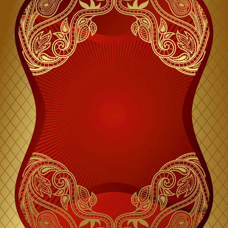 Red Gold Floral Frame Background Vector