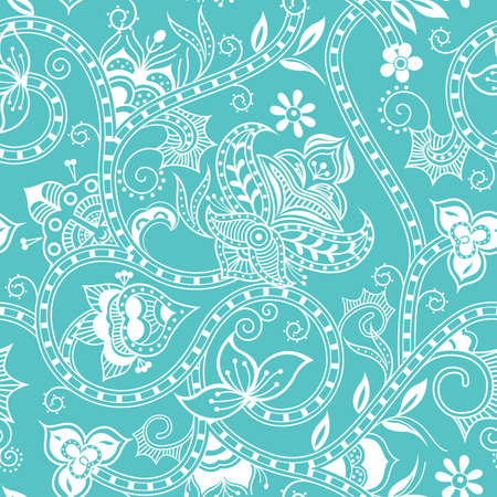 turquoise swirl: Seamless Floral Pattern 4