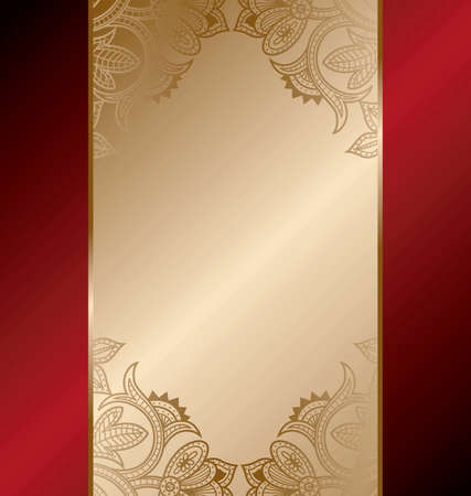 chinese menu: Gold Red Floral Frame Background