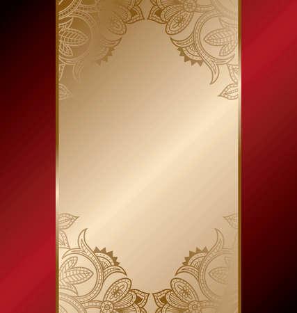 Gold Red Floral Frame Background