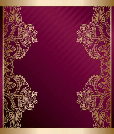 Purple Gold Floral Frame Vector
