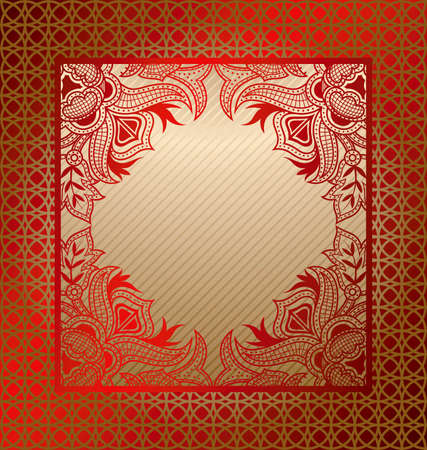 chinese menu: Asia Floral Frame Background