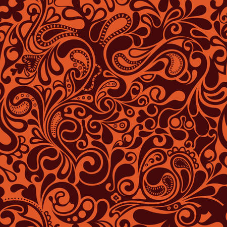 orange swirl: Seamless Floral Pattern 2 Illustration