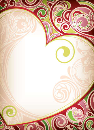 abstract heart background: Heart Frame Background Illustration