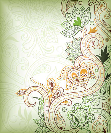 green swirl: Abstract Green Floral Background
