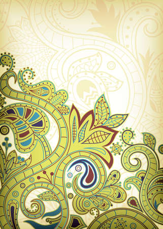 chinese scroll: Lime Floral Abstract Illustration