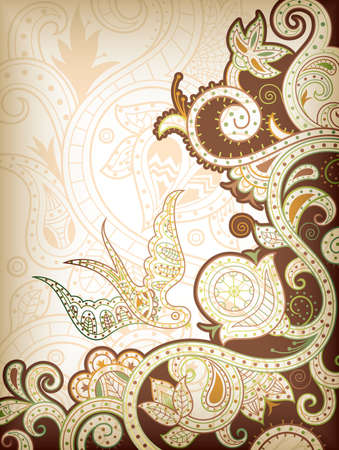 Abstract Floral and Bird Vector