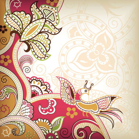 Floral and Bird Vector