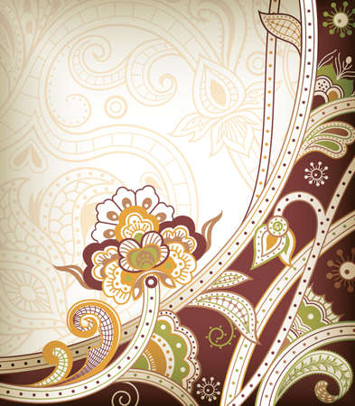 chocolate curls: Abstract Floral Scroll Illustration