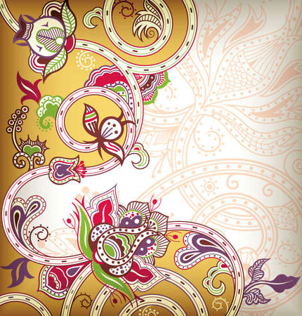 Asia Floral Background Vector