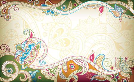 indian design: Abstract Floral Frame Background Illustration