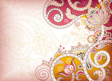 indian art: Abstract Pink Floral Background