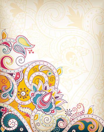インド: アジア花抽象  イラスト・ベクター素材