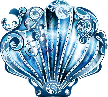 Blue Scallop Illustration