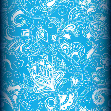 indian blue: Seamless Floral Pattern 4