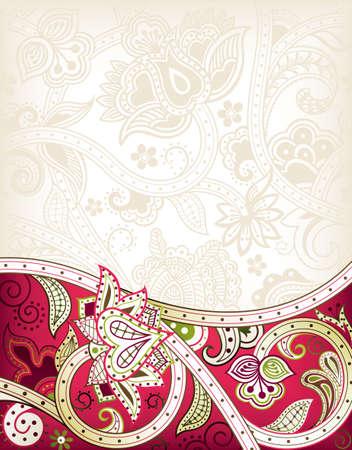 indianin: Streszczenie Red Floral Background Ilustracja