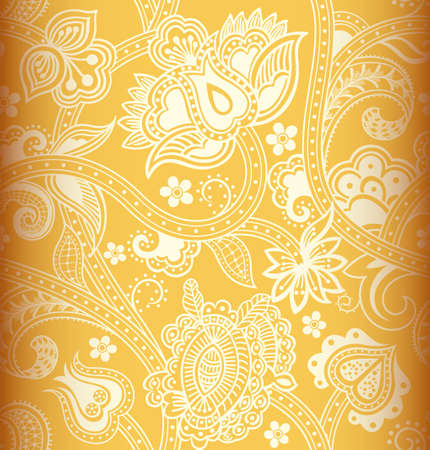 Seamless Yellow Floral Pattern Vector