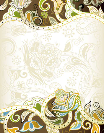 asian wedding: Abstract Floral Frame Background Illustration