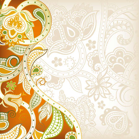 Abstract Orange Floral Background Vector