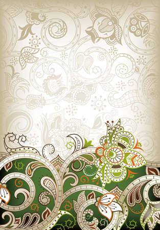 Abstract Green Floral Background Vector