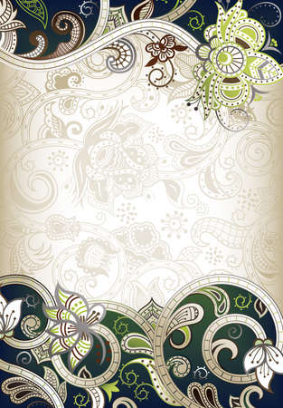 chinese menu: Abstract Green Floral Frame Background Illustration